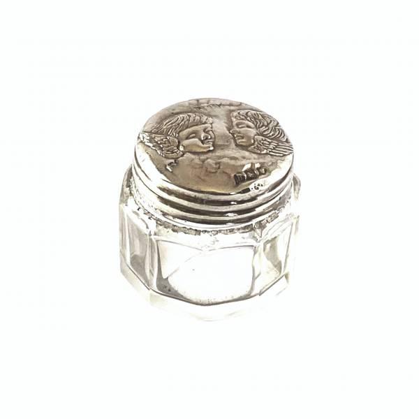 silver dressing table jar Greystones Antiques