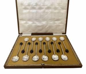 Silver coffee bean spoons Greystones