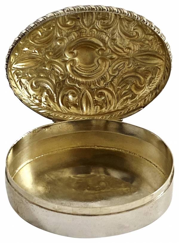 Silver pill box jewellery. box Greystones Antiques