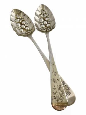 Pair of silver berry spoons, Antique silver, jewellery, collectables & more. Greystones Antiques, Co. Wicklow, Ireland. 20km south of Dublin.