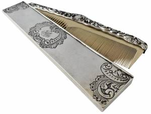 Cased silver comb, Greystones Antiques