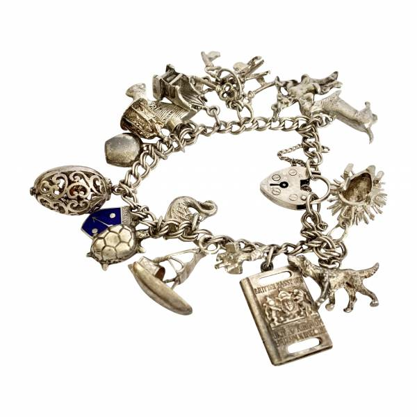 Silver Charm Bracelet, Antique silver, jewellery, collectables & more. Greystones Antiques, Co. Wicklow, Ireland. 20km south of Dublin.