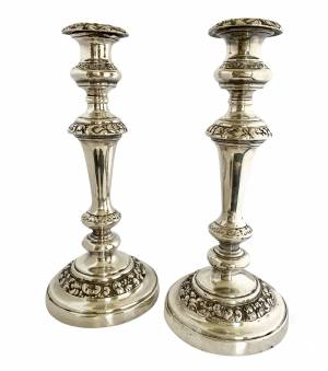 Silver-plated candlesticks, Antique silver, jewellery, collectables & more. Greystones Antiques, Co. Wicklow, Ireland. 20km south of Dublin.