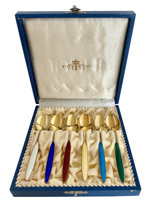 Cased Silver Gilt & Enamel Coffee Spoons, Antique silver, jewellery, collectables & more. Greystones Antiques, Co. Wicklow, Ireland. 20km south of Dublin.