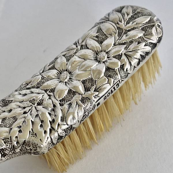 Silver hairbrush, Antique silver, jewellery, collectables & more. Greystones Antiques, Co. Wicklow, Ireland. 20km south of Dublin.