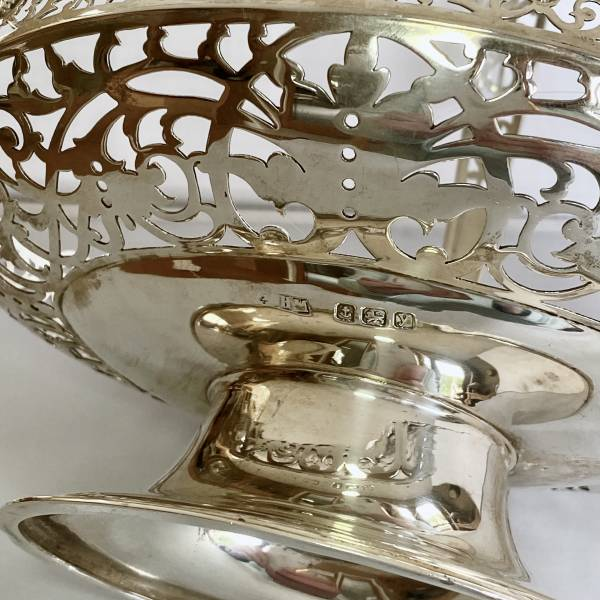 Antique silver basket, Antique silver, jewellery, collectables & more. Greystones Antiques, Co. Wicklow, Ireland. 20km south of Dublin.