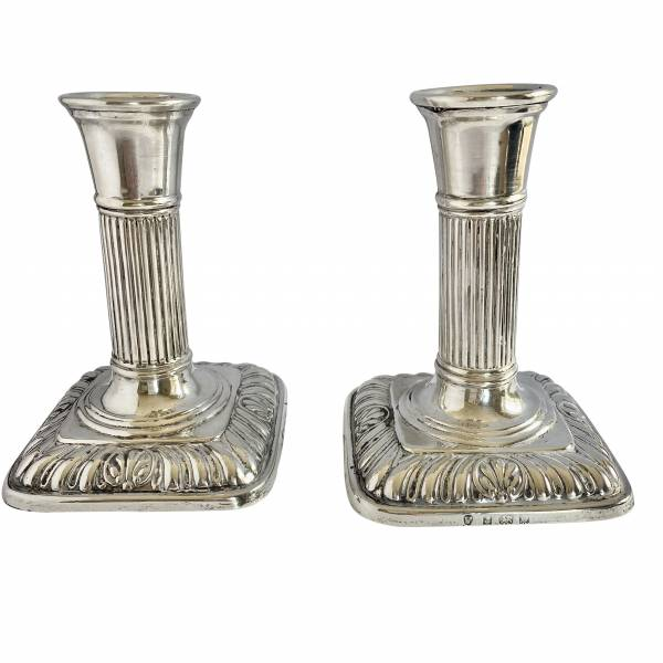Pair of sterling silver candlesticks, Antique silver, jewellery, collectables & more. Greystones Antiques, Co. Wicklow, Ireland. 20km south of Dublin.