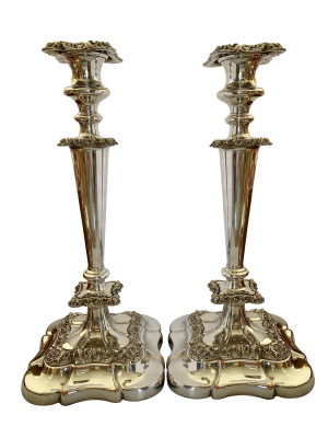 Antique silver candlesticks, Antique silver, jewellery, collectables & more. Greystones Antiques, Co. Wicklow, Ireland. 20km south of Dublin.