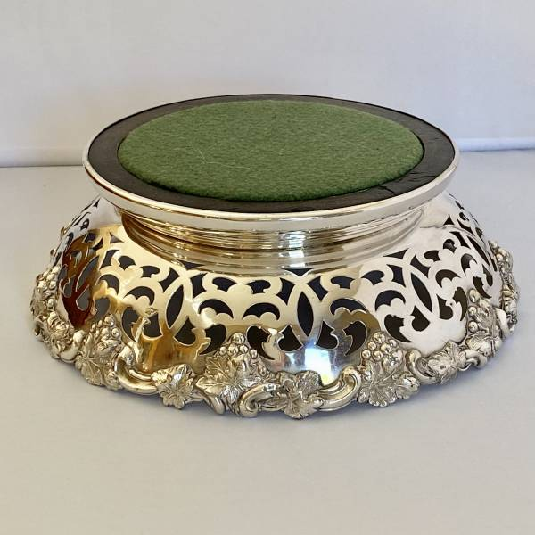 Silver plated vine coaster, Antique silver, jewellery, collectables & more. Greystones Antiques, Co. Wicklow, Ireland. 20km south of Dublin.