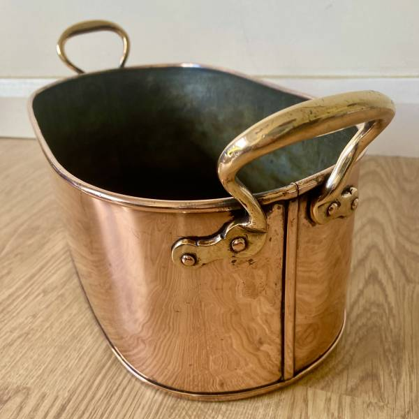 Copper planter, Antique silver, jewellery, collectables & more. Greystones Antiques, Co. Wicklow, Ireland. 20km south of Dublin.